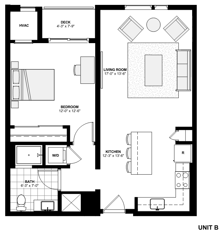 One Bedroom Apartment Floorplan Unit B