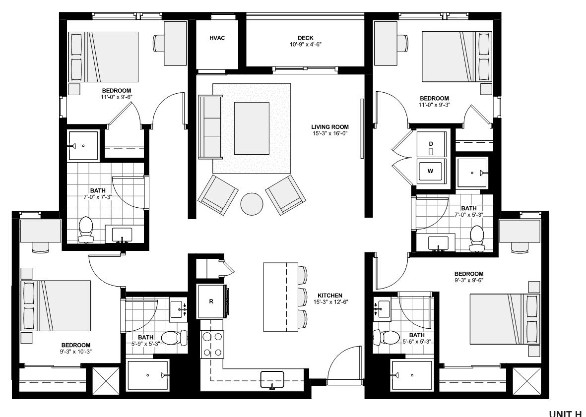 four bedroom apartment floorplan